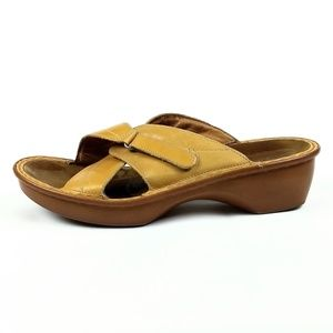 Naot Yellow Leather Slide Sandals Size 11